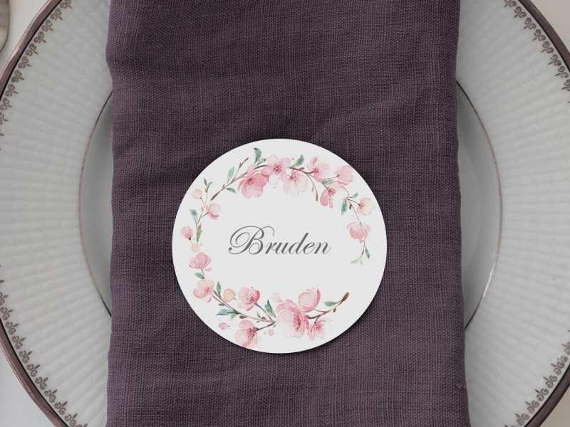 Cherry Blossom, runde bordkort, bryllup