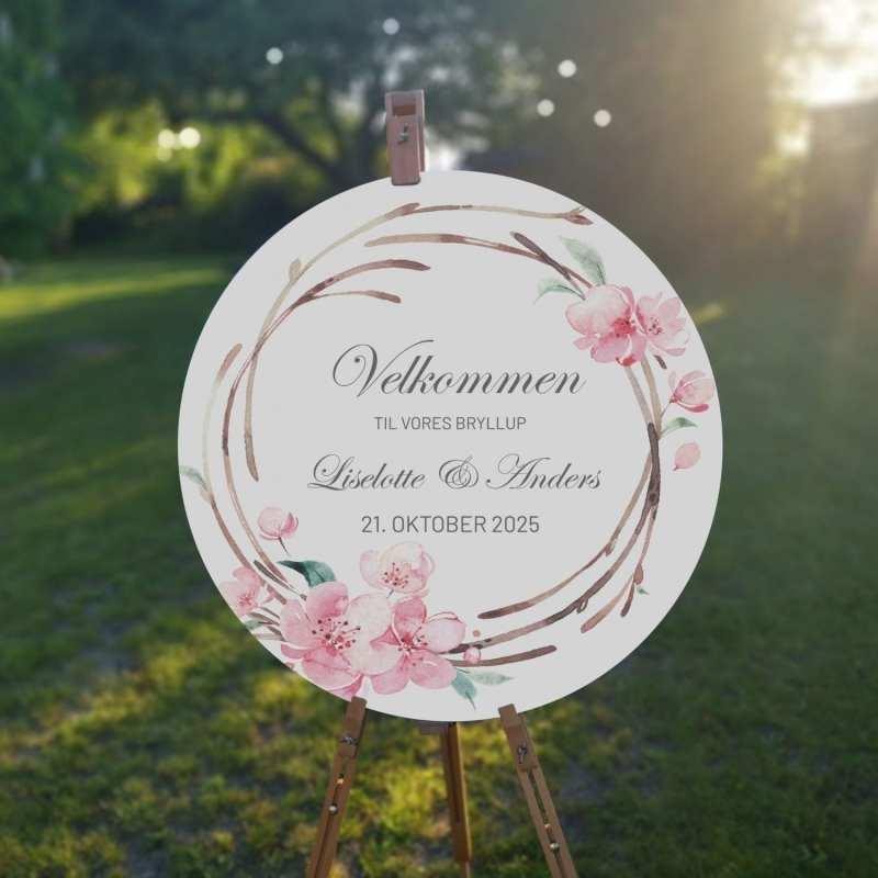 velkomstskilt. cherry blossom. bryllup. sommer. kirsebærblomster. kirsebærtræ. lyserød
