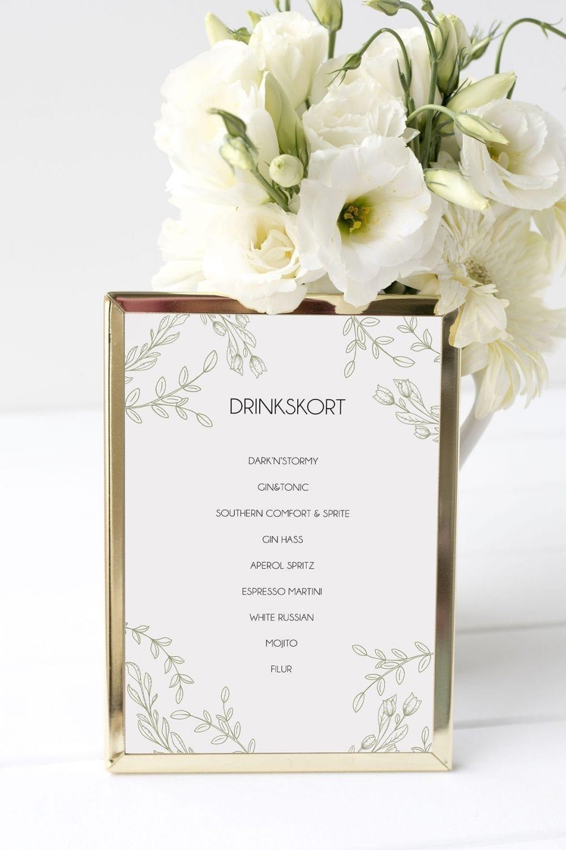 drinkskort, ramme, limb moss, bryllup