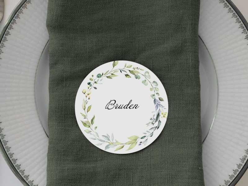 Dusty Green, runde bordkort, bryllup