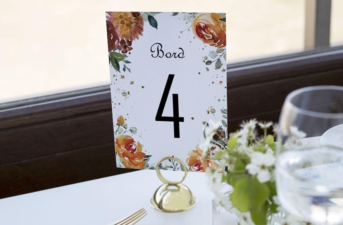 bordnummer, golden bouquet, fest, pynt opdækning, bordopdækning