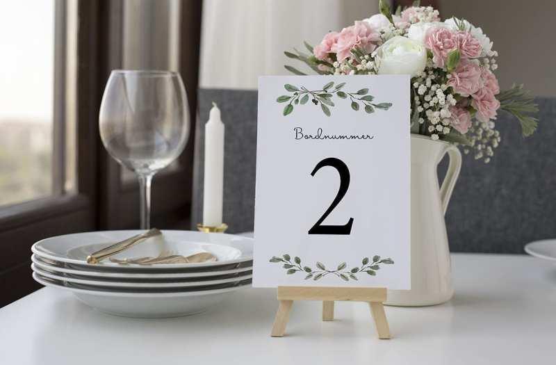 bordnummer, green leaf, fest, pynt opdækning, bordopdækning