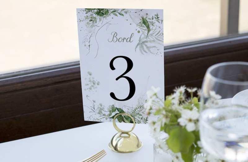 bordnummer, greenery kalker, fest, pynt opdækning, bordopdækning