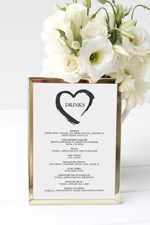 drinkskort, ramme, grunge heart, bryllup