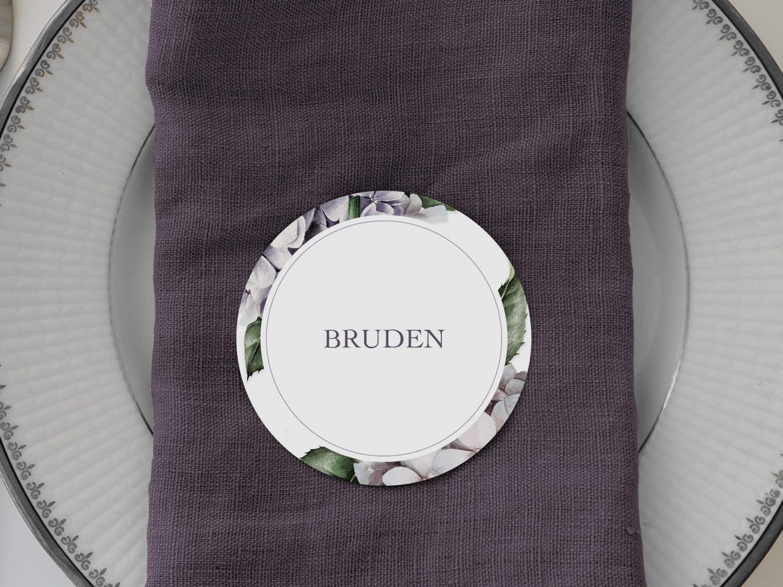 Lavender Hydrangea, runde bordkort, bryllup