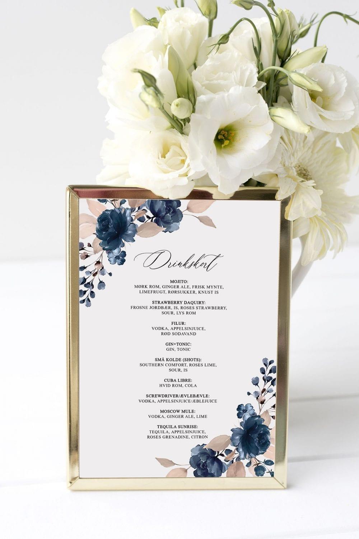drinkskort, ramme, navy bloom, bryllup