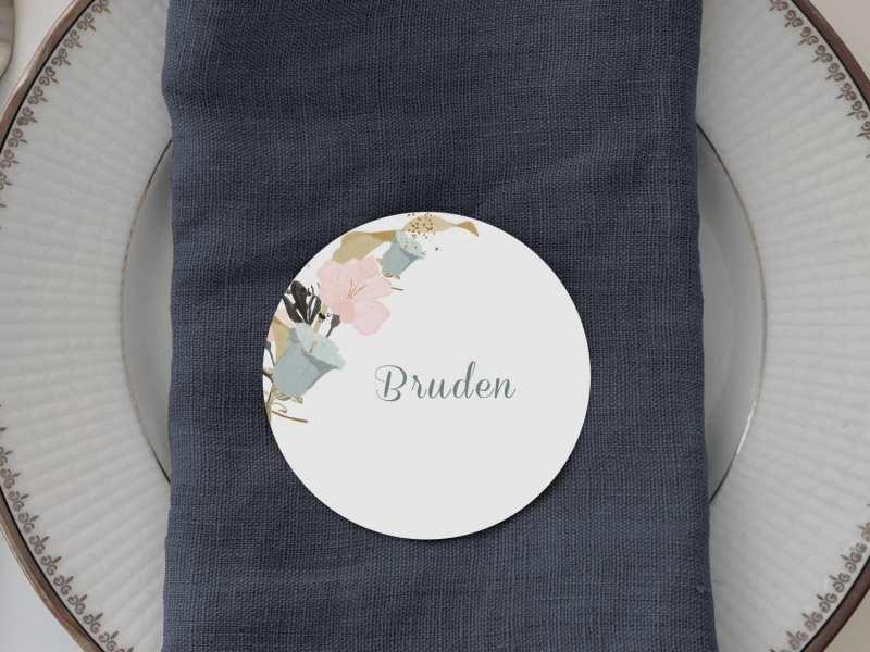 Pale Blue, runde bordkort, bryllup