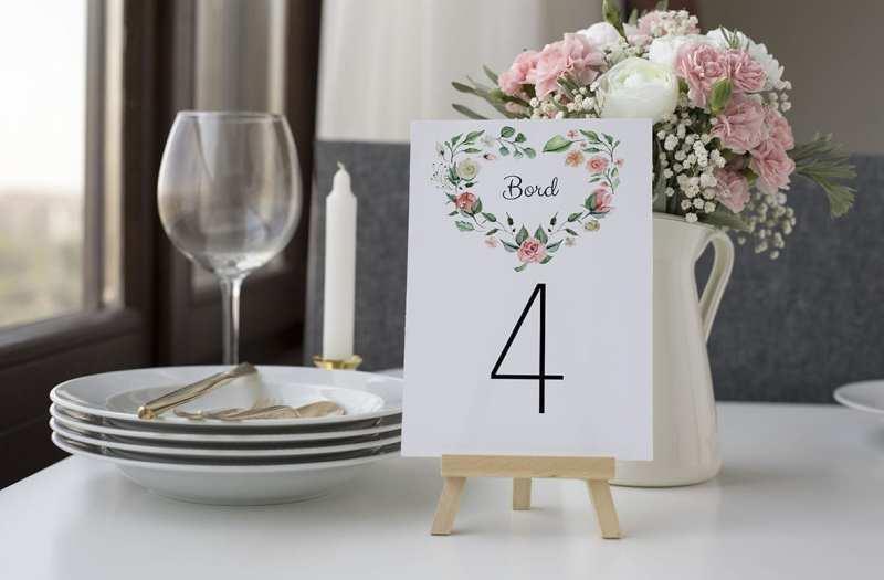 bordnummer, pale rose, fest, pynt opdækning, bordopdækning