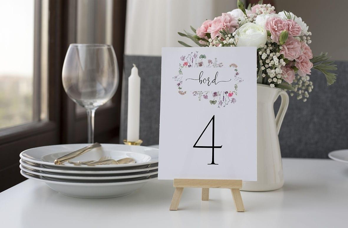 bordnummer, pressed flowers, fest, pynt opdækning, bordopdækning