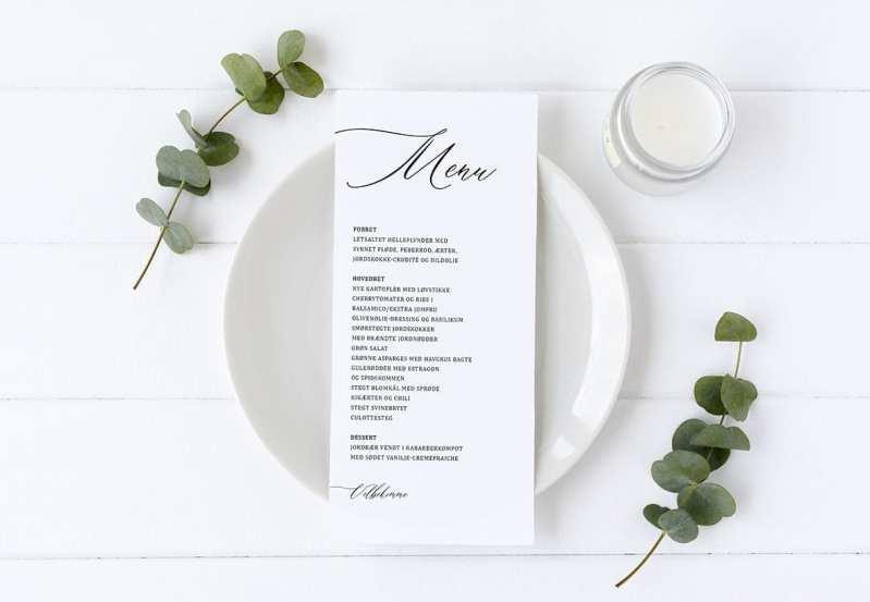 kalligrafi menukort simpelt