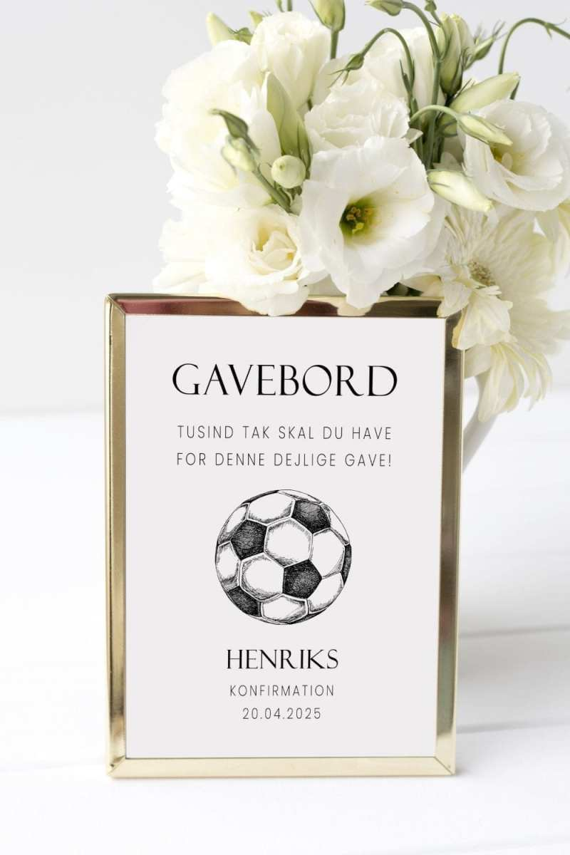 Soccer Goal, gavebord skilt, konfirmation