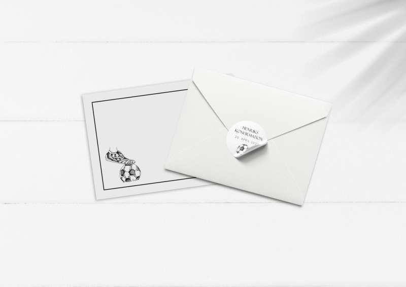 Soccer Goal, konfirmation, kuvert og stickers