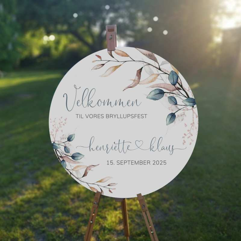 Soft Sage, velkomstskilt, bryllup