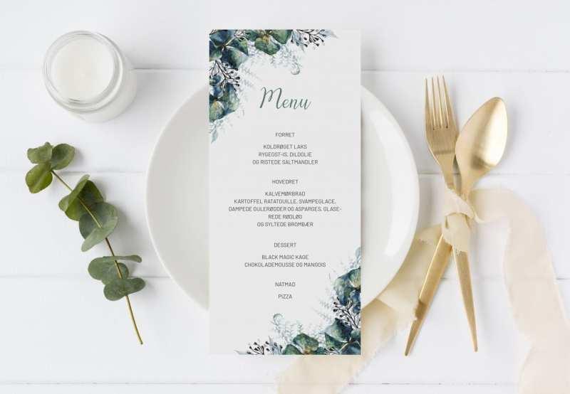 Teal Vibrant, menukort, bryllup