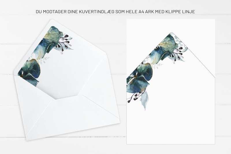 Teal Vibrant, kuvertindlæg, bryllup