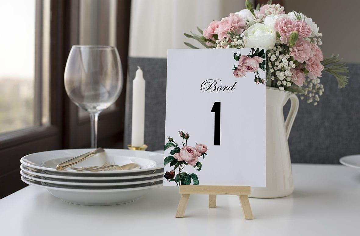 bordnummer, vintage floral, fest, pynt opdækning, bordopdækning