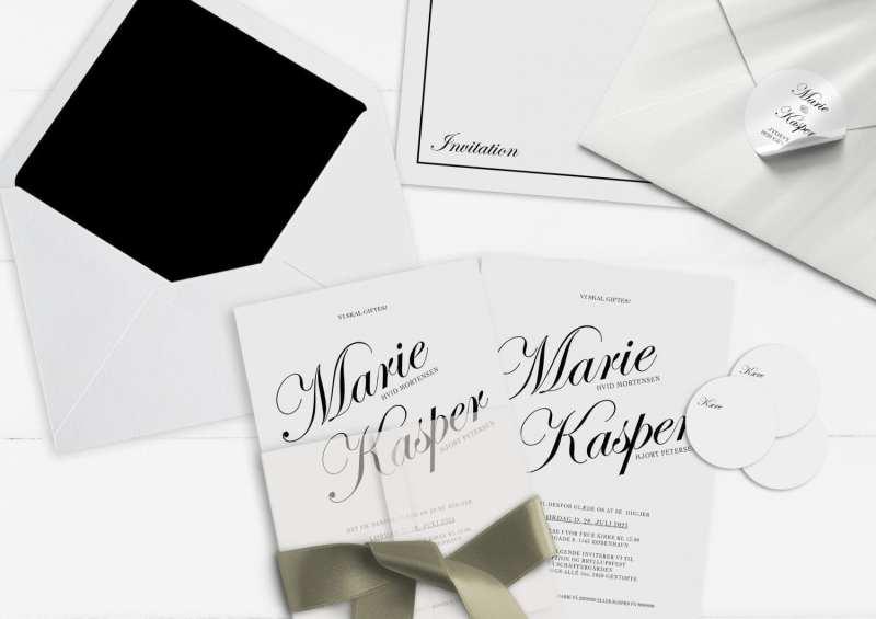 Kaligrafitti bryllupsinvitation