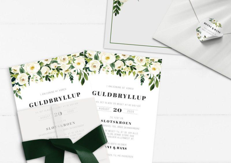 Guldbryllup invitation grønne blade og hvide blomster