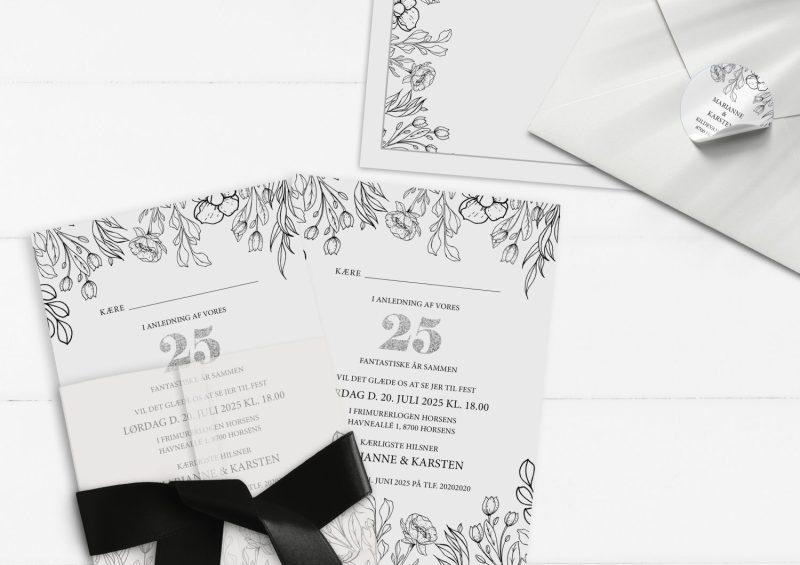 Sølvbryllup 25 år invitation med Sølv illustrationer