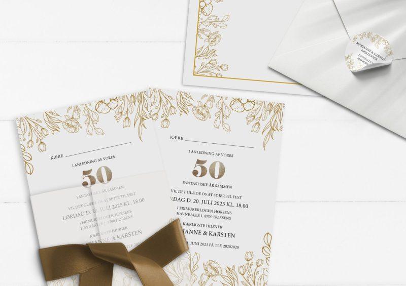 Guldbryllup 50 år invitation med Sølv illustrationer