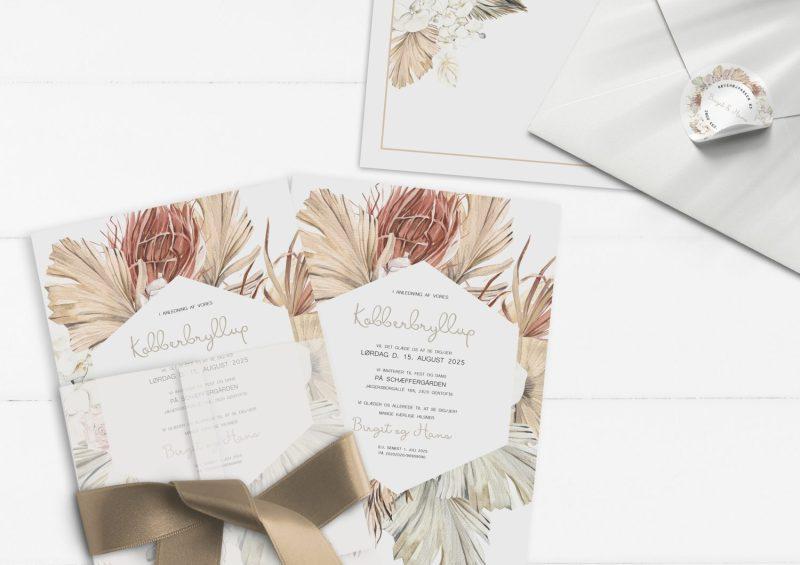 Botanical rhapsody kobberbryllup invitationer