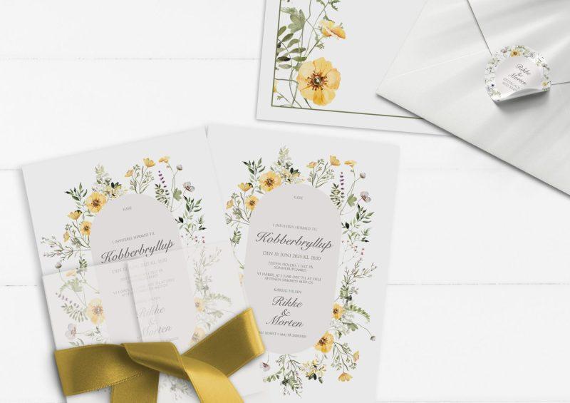 Invitation til kobberbryllup gule blomster