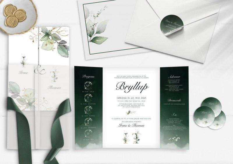 Dark green portefalq invitation mørkegrøn og guld