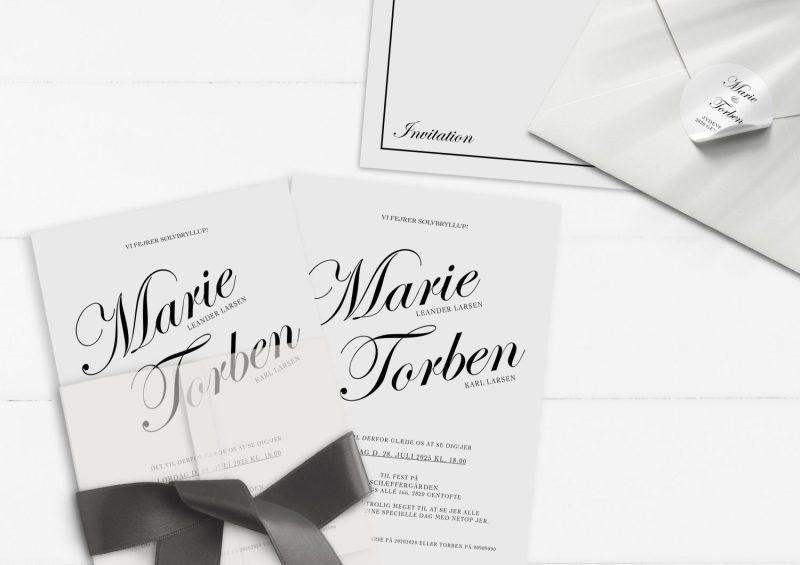 Sølvbryllup invitation kaligrafitti