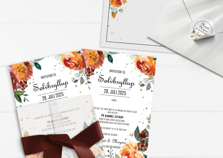 sølvbryllup invitation orange blomster