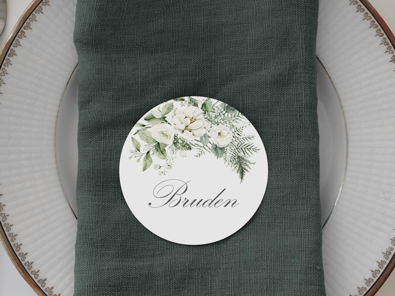 rundt bordkort til bryllup