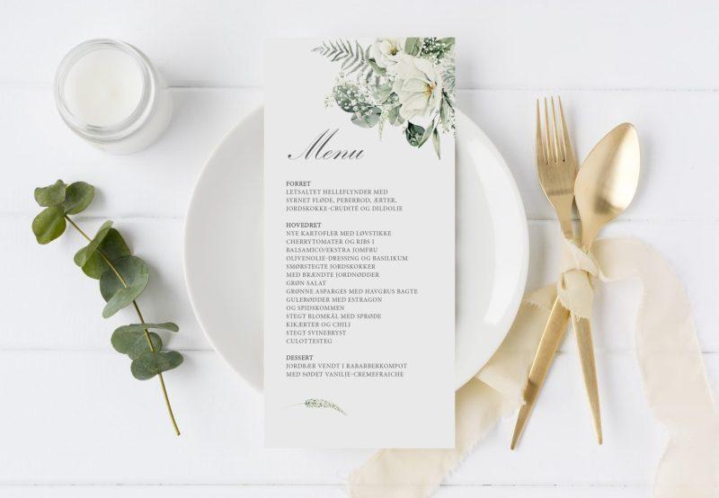 menukort bryllupsfest