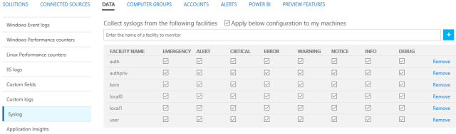 Figura 4 - Impostazioni facilities Syslog