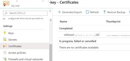 Figura 2 - Sezione certificati in Azure Key Vault
