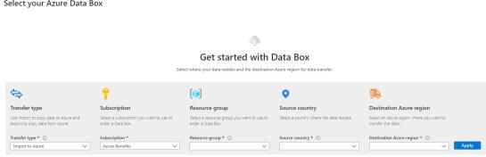 Figura 6 - Data Box portale Azure