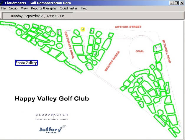 Graphical view of a typical golf course.