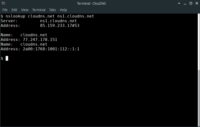 Command line: $ nslookup example.com ns1.nsexample.com