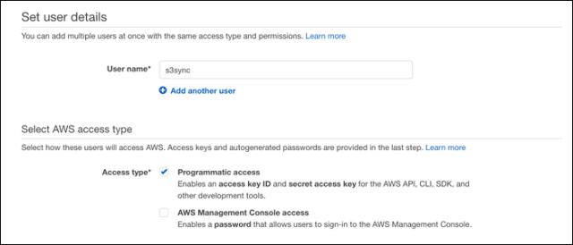 Set User Details menu.