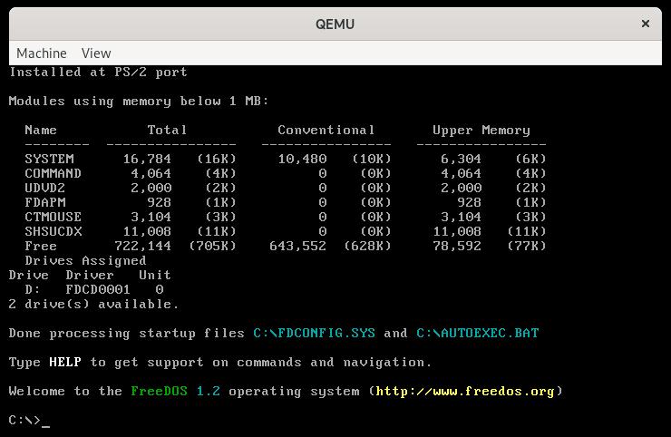 Running FreeDOS 1.2 in QEMU