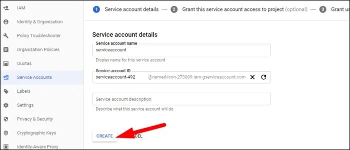 set name for service account