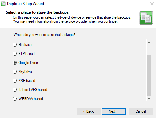 Duplicati to Backup Google Drive