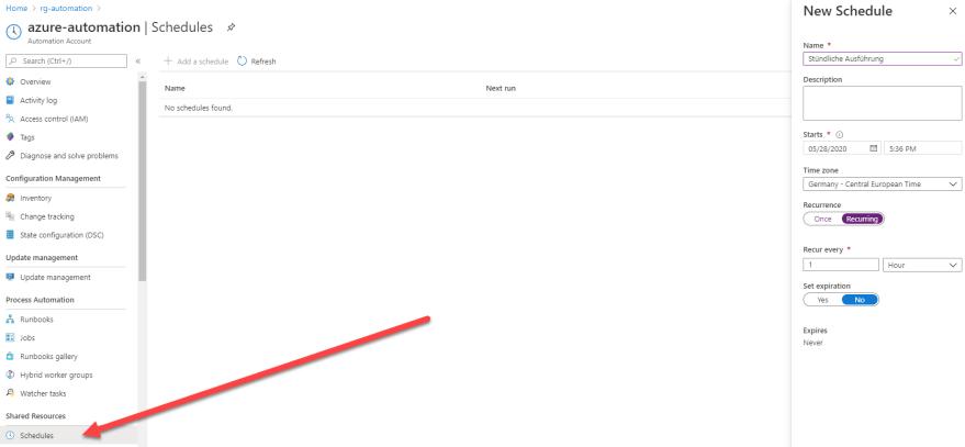 Azure VPN Verbindung mit einer dynamischen IP-Adresse - Zeitplan erstellen