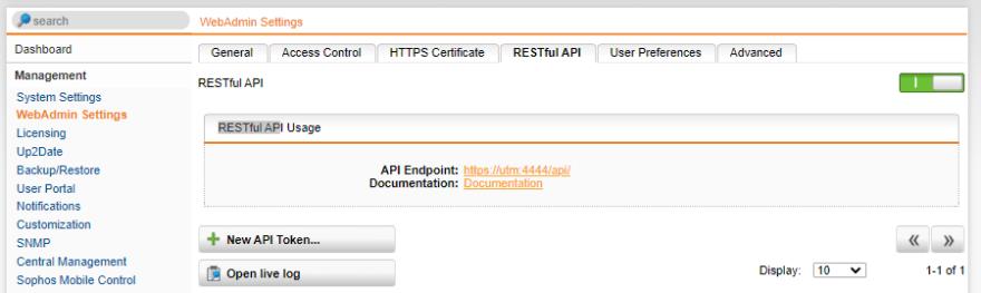 Import der Office 365 Endpoints in die Sophos UTM - RESTful API aktivieren