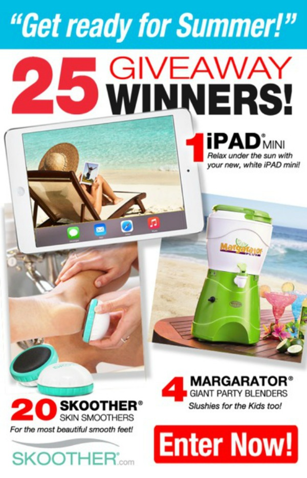 If you suffer from dry, cracked heels, the 'Get Ready for Summer Giveaway' is for you! Enter today for your chance to win an iPad Mini, a Skoother Skin Smoother to help cure your cracked heels, or a Margarator giant party blender. With 25 prizes to be won, you don't want to miss out!