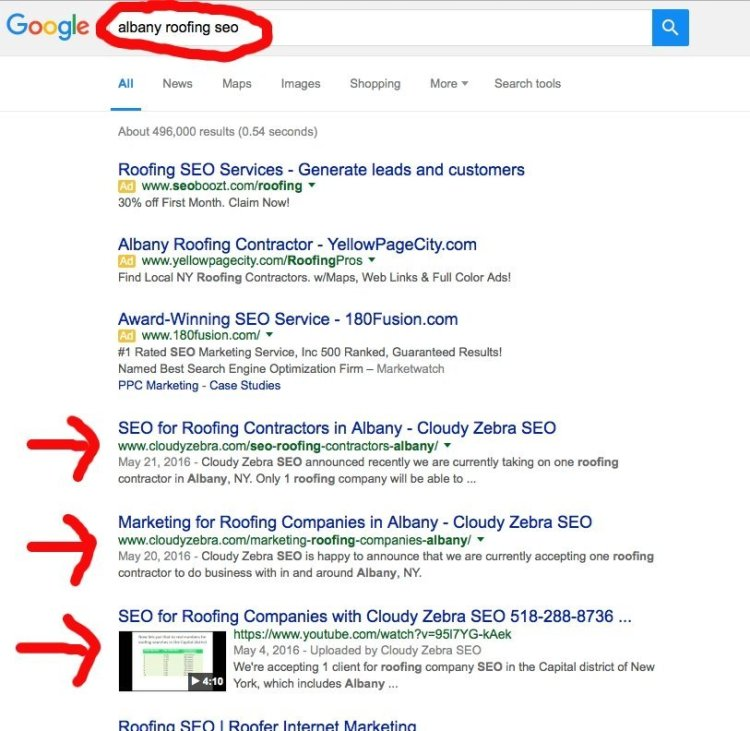 Albany Roofing SEO