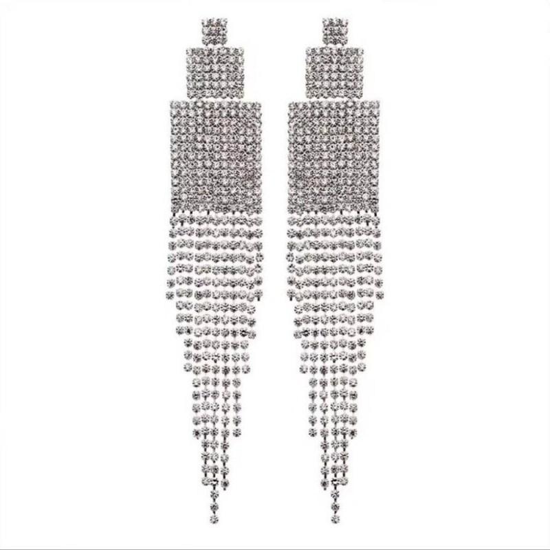 Rhinestone Crystals Drop Earrings CLOVER JEWELLERY