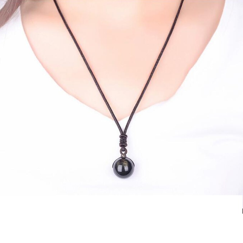 Natural Gold Obsidian Bead Pendant Necklaces for Woman Transfer Good Luck Beads Necklace Amulet Rope Chain Handmade Jewelry Gift CLOVER JEWELLERY