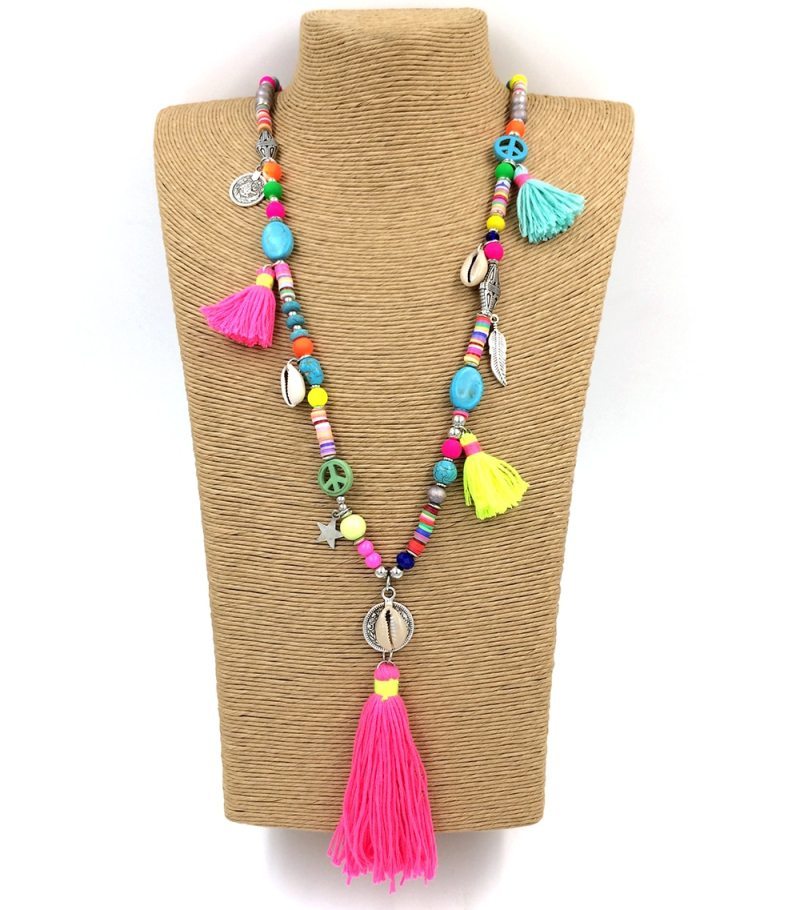 Handmade Tassel Pendents Necklace Boho Chic Bohemiam Long Statement Necklaces Rainbow Colorful Beads Chain CLOVER JEWELLERY