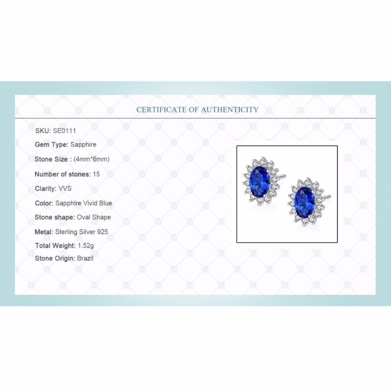 New Natural Birthstone Royal Blue Sapphires Stud Earrings With Solid 925 Sterling Silver CLOVER JEWELLERY
