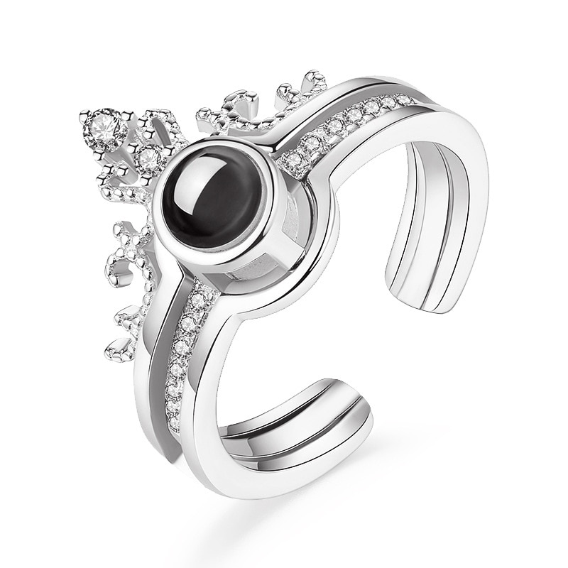 100 language i love you Rings Projection king queen crown ring men woemn Valentine gift CLOVER JEWELLERY