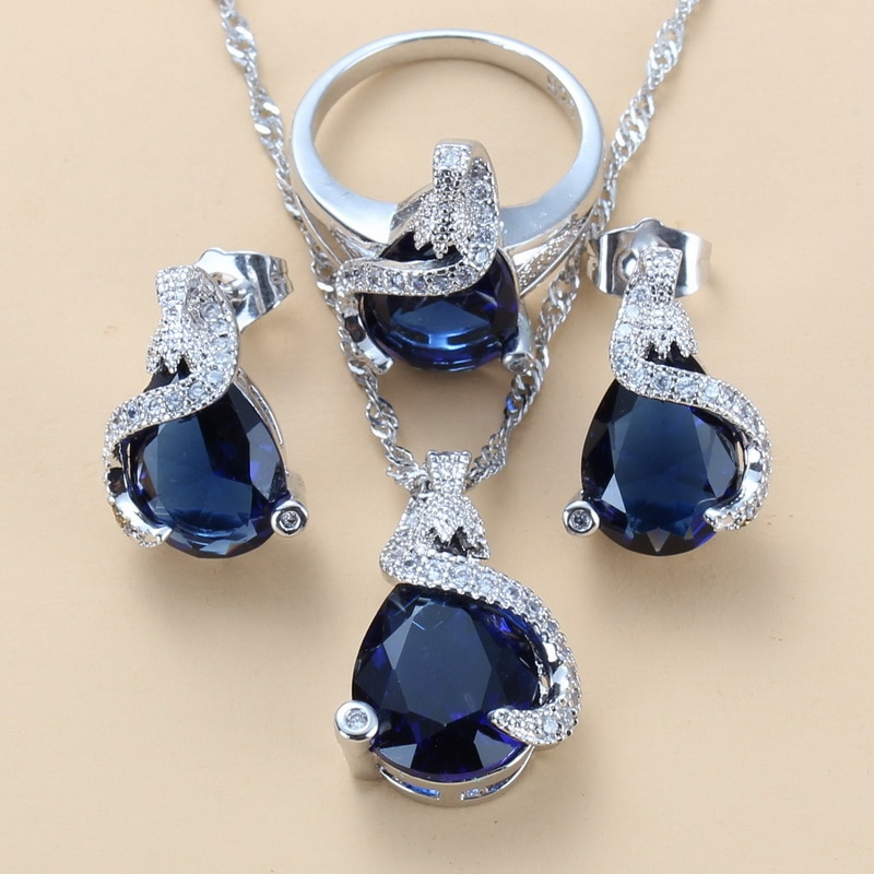 925 Silver Jewelry Set Wedding-Engagement Accessories For Women Blue CZ Water Drop Earrings/Pendant/Necklace Chain/Ring Sets CLOVER JEWELLERY